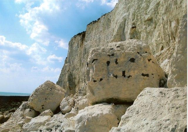 Rockfall at Cliff Bottom, East Sussex