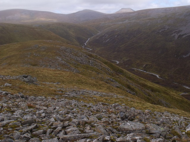 South-east flank of Cnap nan Laogh overlooking the drainage of the western Cairngorm massif
