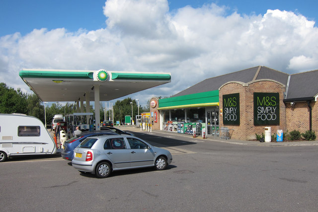 BP fuel station and M&S