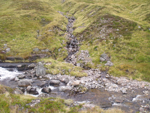 Stream junction on Caochan Dubh in the Eidart system, Glenfeshie