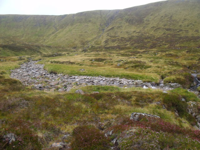 Streambed of Caochan Dubh before it joins Allt Luineag to become River Eidart, Glenfeshie