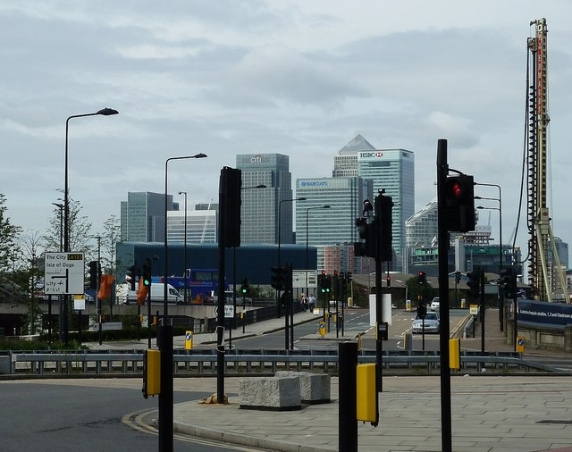 Road junction and Canary Wharf towers