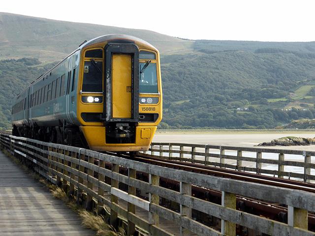 A Pwllheli bound train crosses Barmouth Bridge