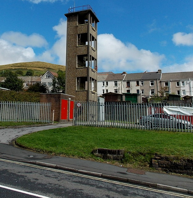 Fire station tower in Pontycymer