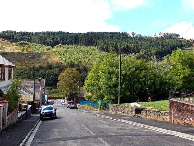 View from the top of St David Street, Pontycymer