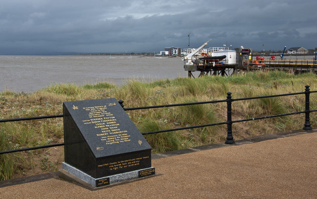 A memorial to those who died in a helicopter accident in Morecambe Bay 0n 27th December 2006