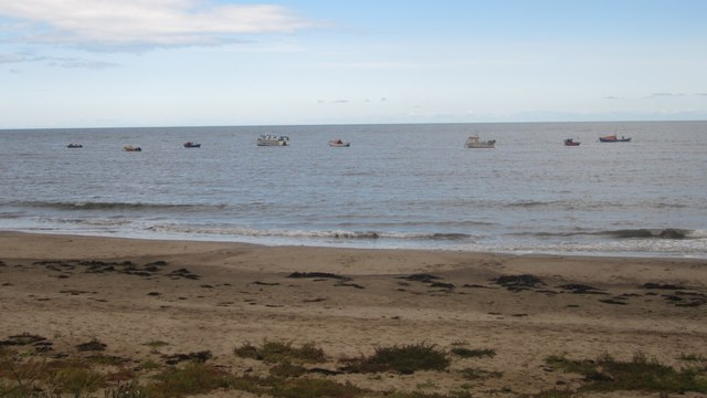 Boats moored in Boulmer Haven