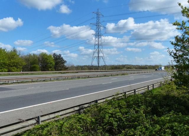 Electricity pylon next to the M1 motorway