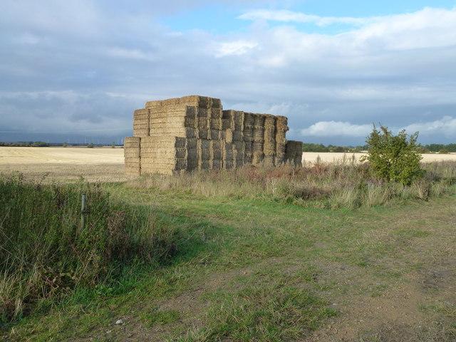 Straw stack and farmland near Pidley