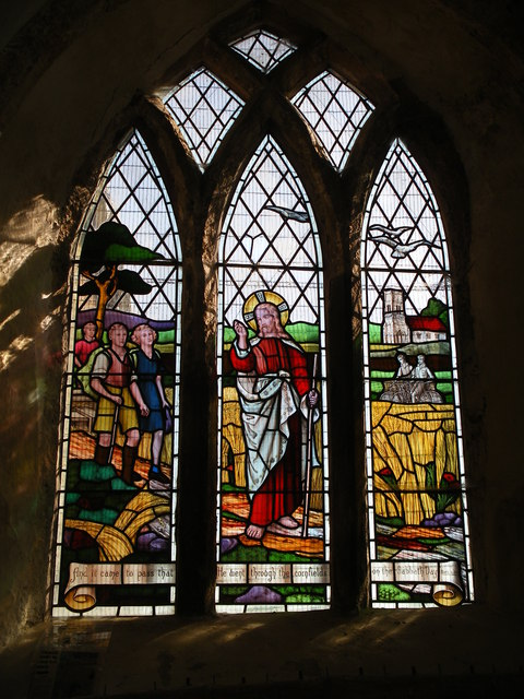 Stained glass window, All saints, Walesby