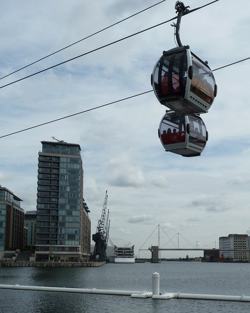 Emirates Cable Car - Two gondolas cross