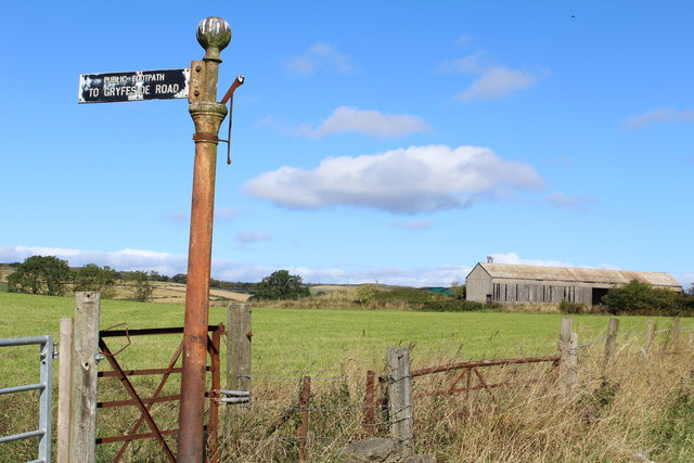 Signpost for Public Footpath to Gryfeside Road