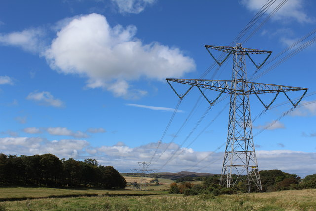 Pylons west of Finlaystone Road