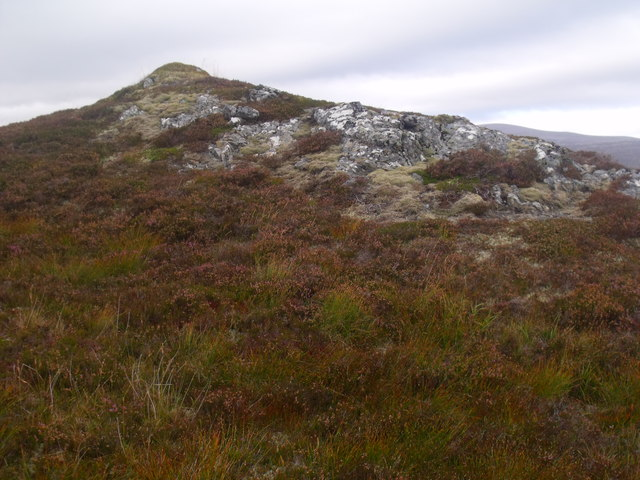 View two of strange vegetated knoll above River Feshie near Aviemore