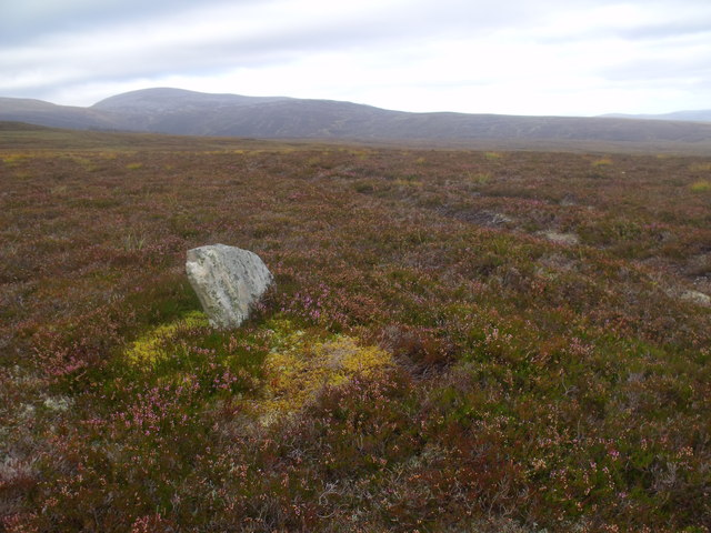 'tombstone' by ATV track above River Feshie near Aviemore