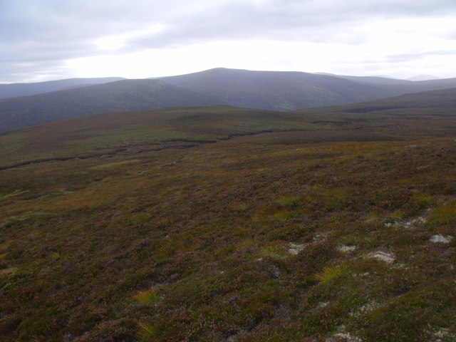Mix of peaty ground and quartzy ridge above River Feshie near Aviemore