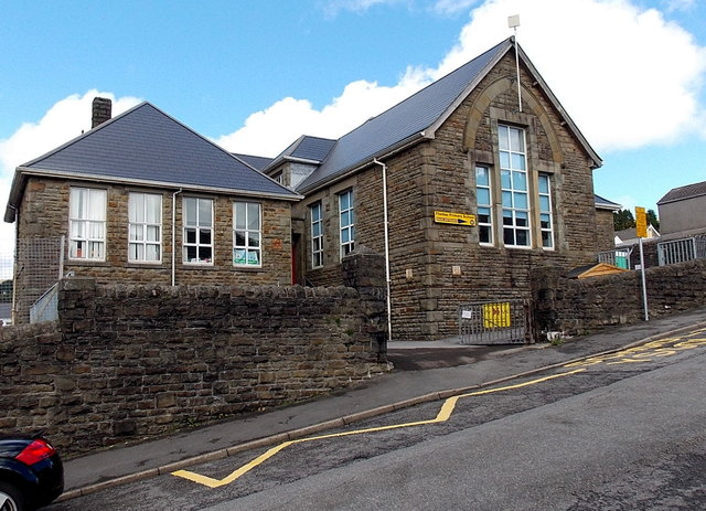 Ivor Street side of Ffaldau Primary School, Pontycymer