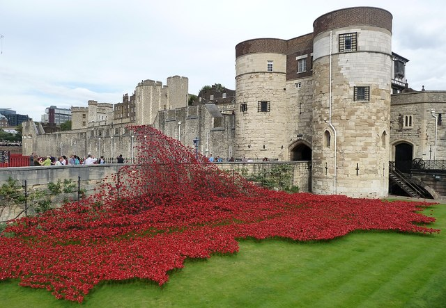 Poppies cross the bridge in front of Byward Tower