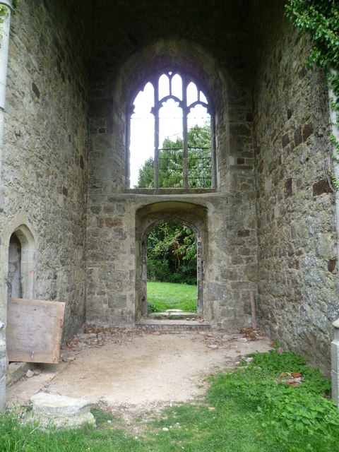 Inside the ruined tower of St Mary's Church, Little Chart