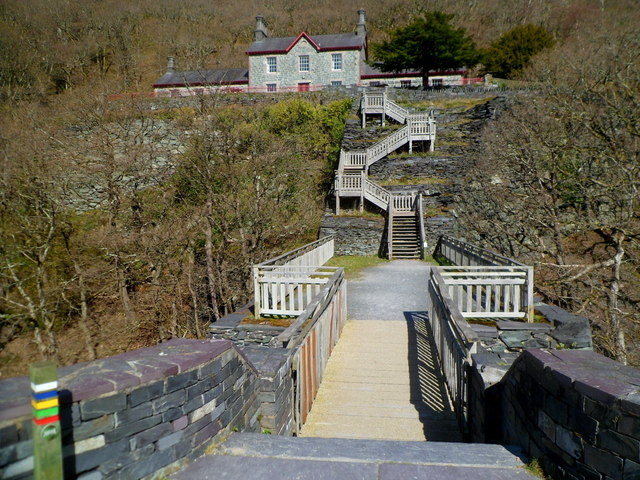 Flights of steps up to Quarry Hospital Visitor Centre, Padarn Country Park, Llanberis