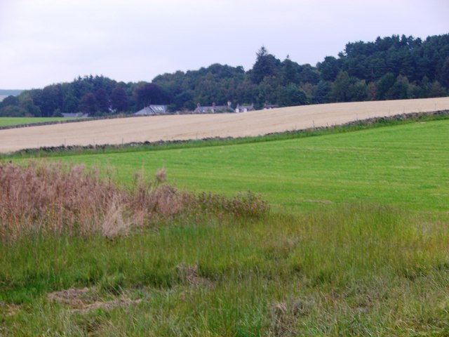 A view north to houses on the A980
