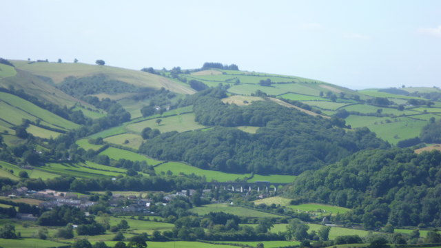 View to Knucklas viaduct from Cwm Sanaham hill on Offa's Dyke Path