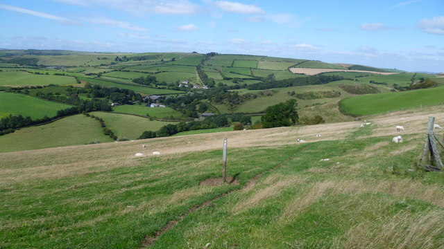 On Offa's Dyke Path north of Cwm Sanaham Hill in summer