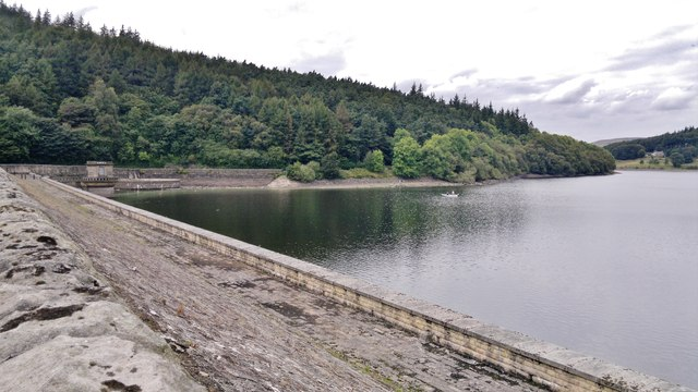 West side of Ladybower Dam and spillway