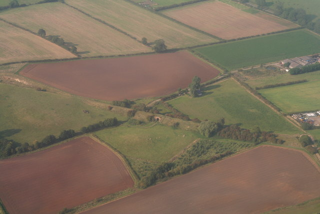 Disused railway and bridge south of Donington on Bain: aerial 2014