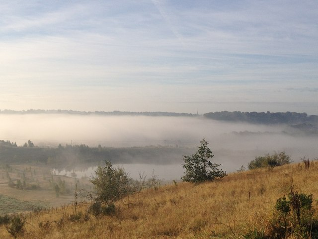 Silverdale Country Park with sun on low-lying fog