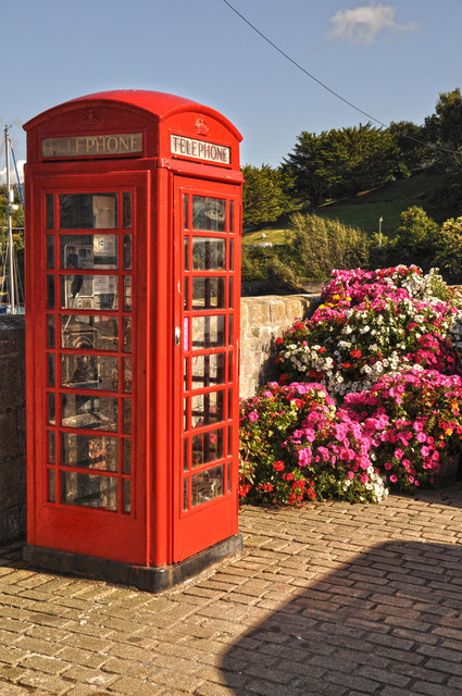 Ilfracombe : Telephone Kiosk & Flowers