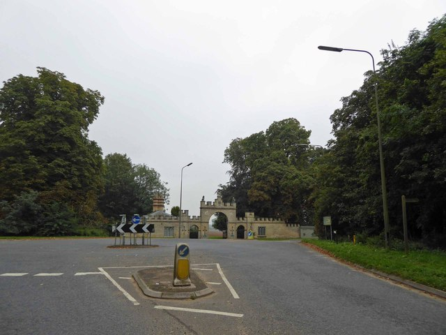 Ahead is the gateway to Redbourne Hall