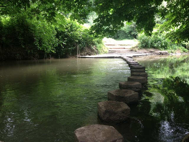 Stepping stones across the R.Mole below Box Hill