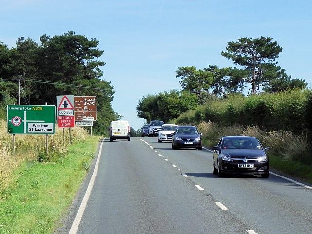 A339 (Kingsclere Road) near Wooton St Lawrence