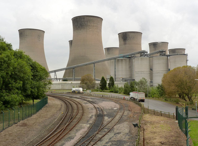 Cottam Power Station from Cottam Road railway bridge