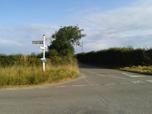 Crossroads and signpost