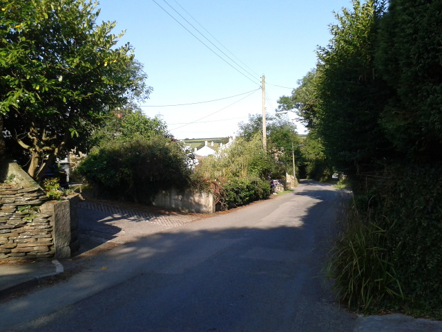 Road heading west in St Treath