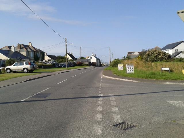 B3314 heading south in Delabole, Westdown Road to the right