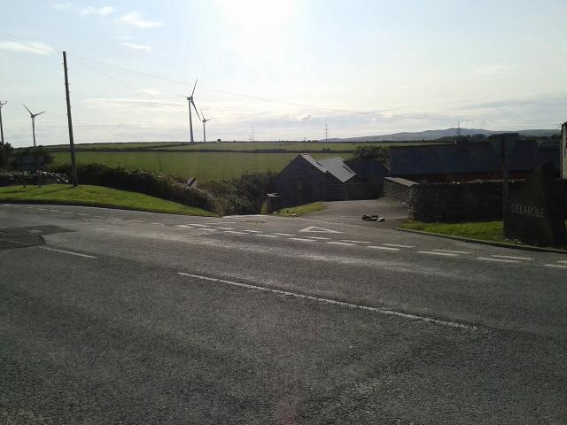 Wind turbines in a field on the edge of Delabole