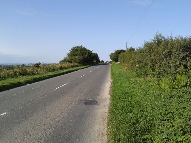 On the side of the B3314 looking south-west towards Delabole