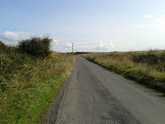 A quiet Cornish lane in the bright sunlight