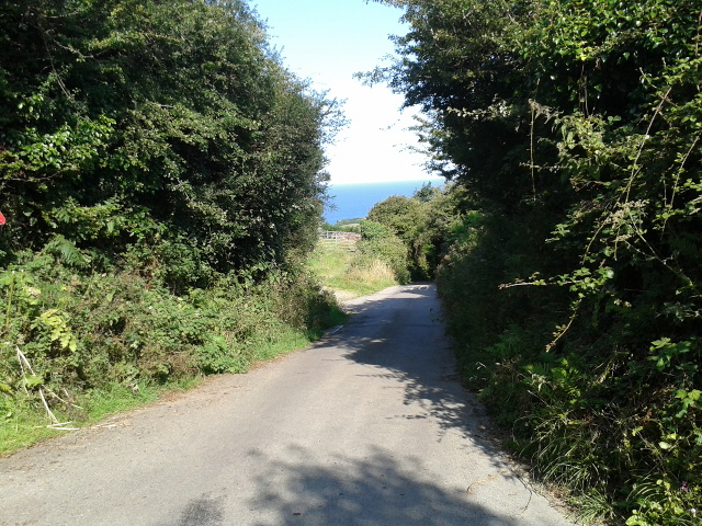 Steep lane down into Boscastle