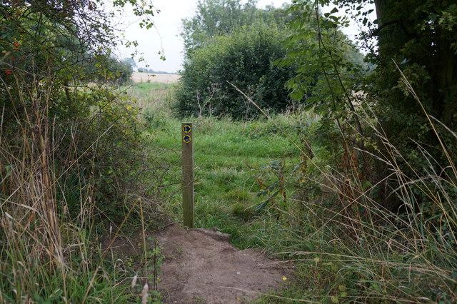 Bridleway marker east of Brigsley