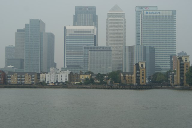 View of Canary Wharf from the Greenwich Peninsula