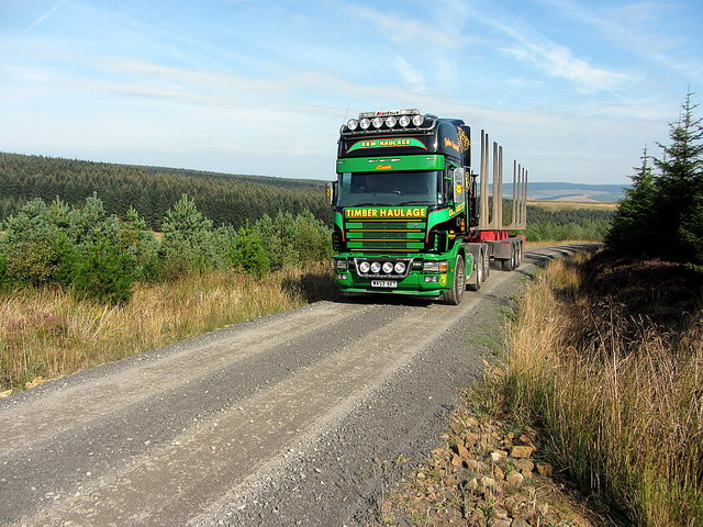 Forestry lorry above Bells Burn