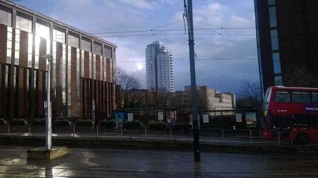 View south from East Croydon station, across the tram stop