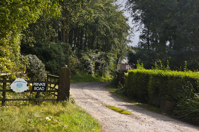 Private road and bridleway at Goosnargh Lodge