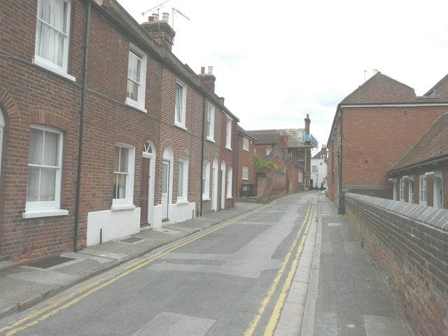 Looking east-southeast along Hospital Lane