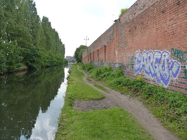 Brick wall and towpath