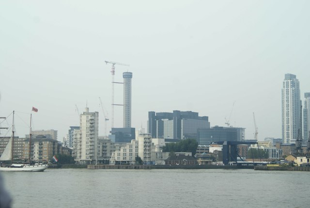 View of Baltimore Tower from Greenwich Peninsula